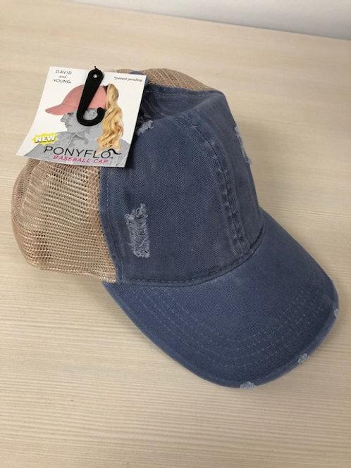 PONYFLO MESH LADIES BASEBALL CAP LGT BLUE