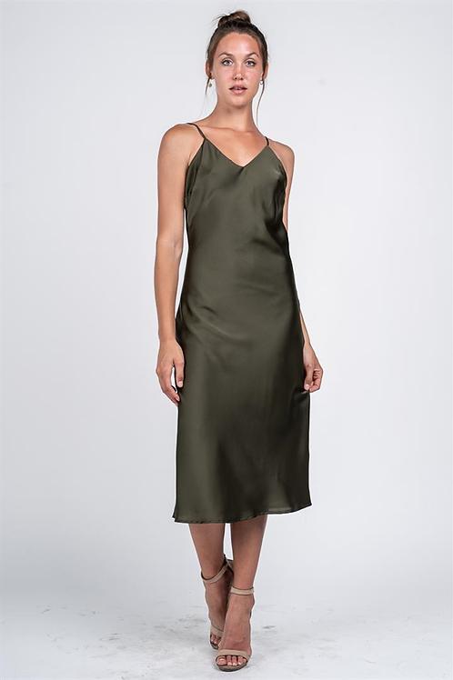 OLIVE SATIN SLIP DRESS
