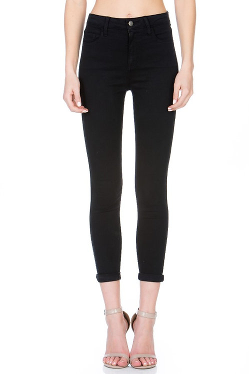HIGH RISE DOUBLE ROLL BLACK SKINNY