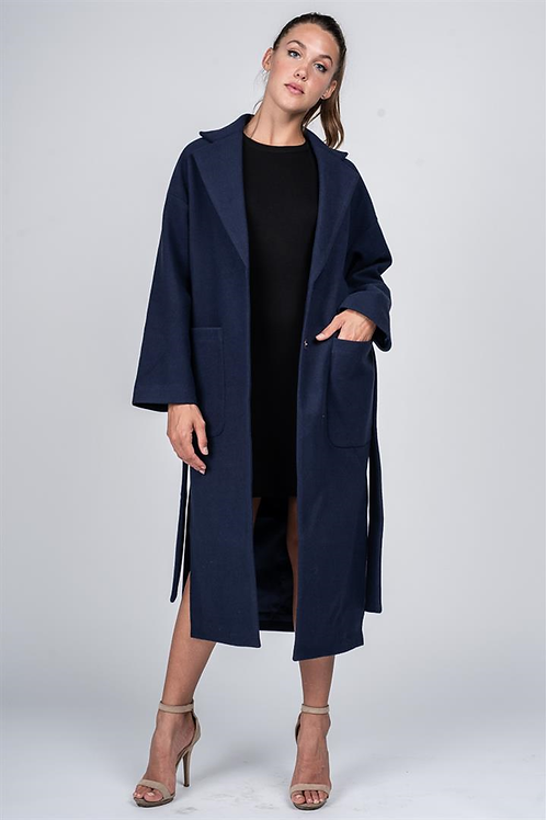 OVER-SIZED NAVY TRENCH COAT