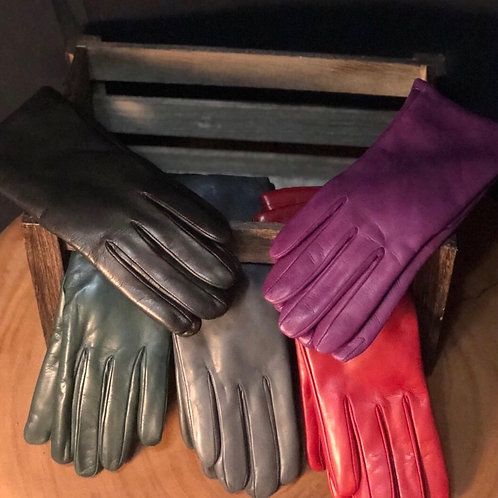 SUPPLE ITALIAN LEATHER GLOVES W/CASHMERE LINING