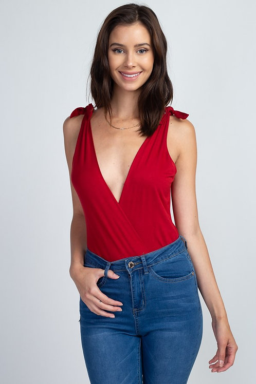 SURPLICE BODYSUIT W/ SHOULDER TIES RED