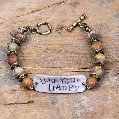 FIND YOUR HAPPY DARK BEADS BRACELET
