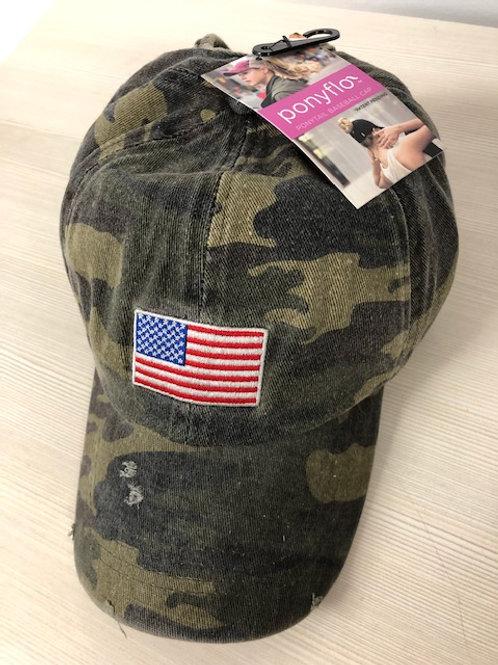PONYFLO USA FLAG CAMO BASEBALL CAP