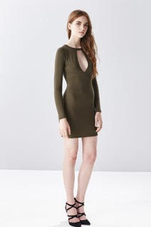 JERSEY OPEN BACK BODY-CON OLIVE MINI