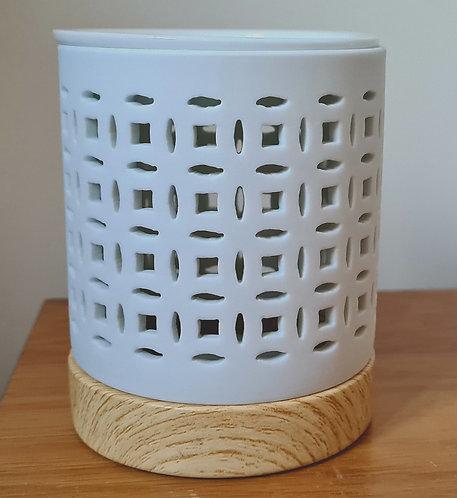 White Geometric Square Lattice Ceramic Wax Melt / Oil Burner