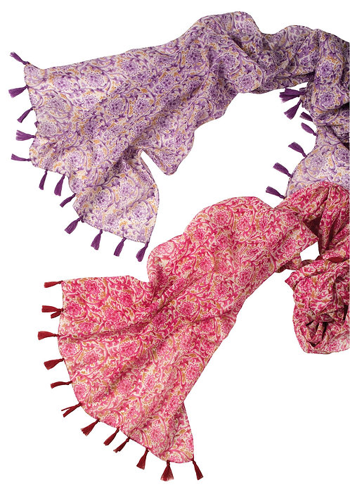 Floral print cotton scarf with tassels