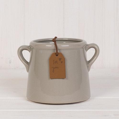 Grey Pot with Double Handles - 10cm