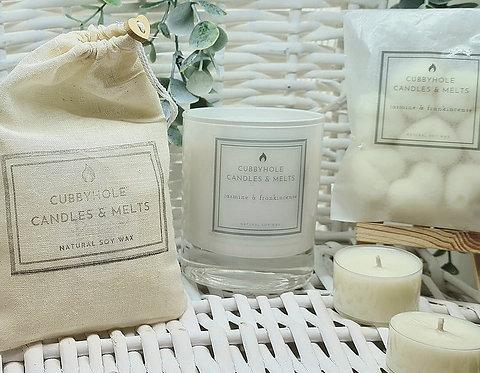 Medium Jasmine & Frankincense Soy Wax Candle