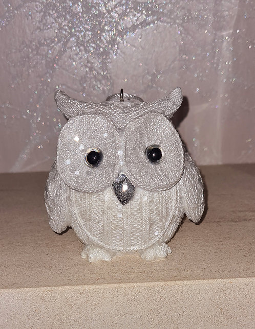 White Knitted Owl Standing Up