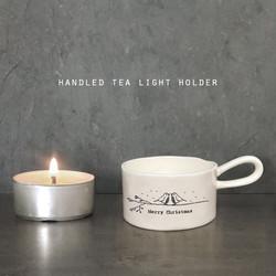 Handled Tea Light Holder - 'Merry Christmas' - East of India