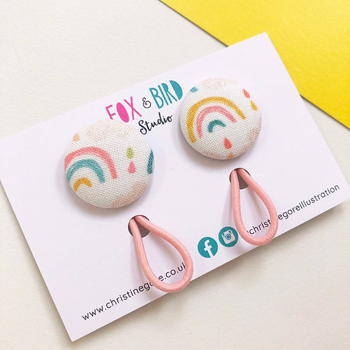 2 Rainbow fabric covered button hair Bobbles