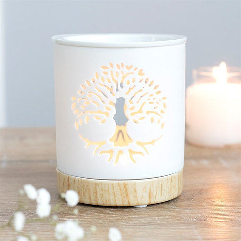 White Tree of Life Ceramic Oil Burner