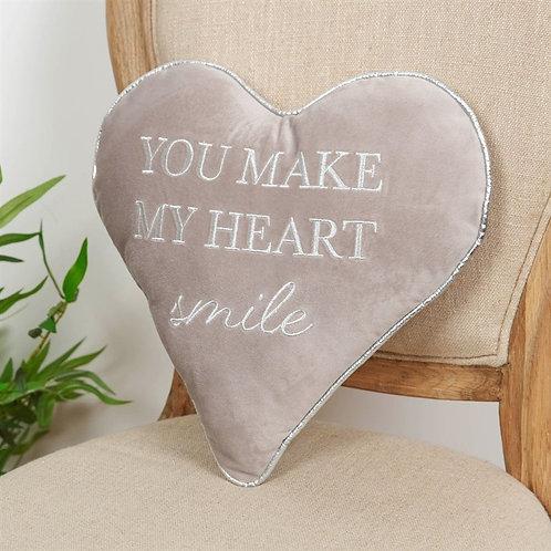 """You make my Heart Smile"" Grey Cushion"