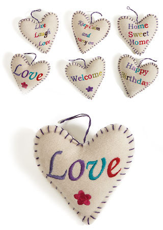 Hanging felt heart with embroidered message