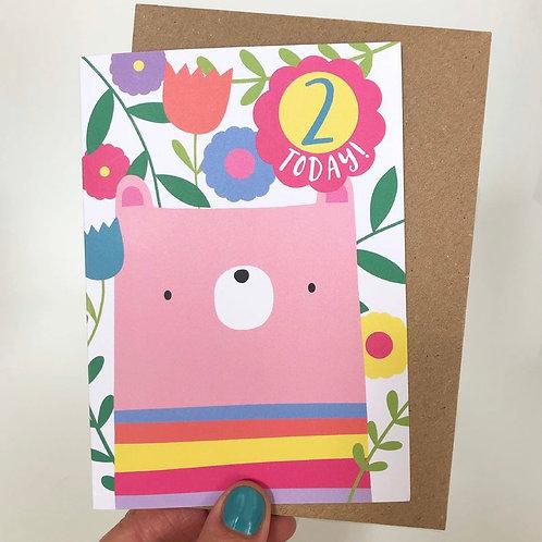 2 Today! Bear Birthday Card