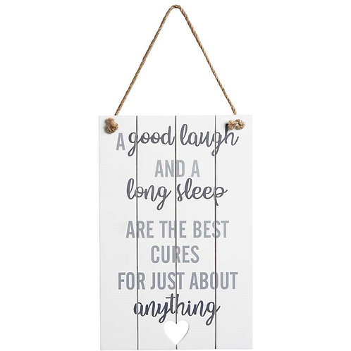 A Good Laugh and a Long Sleep Shabby Chic Sign