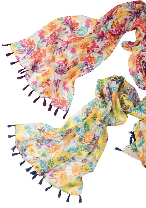 Flower/Butterfly Cotton Scarf with Tassels
