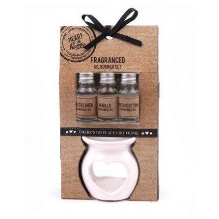 Ceramic Heart Oil Burner Gift Set