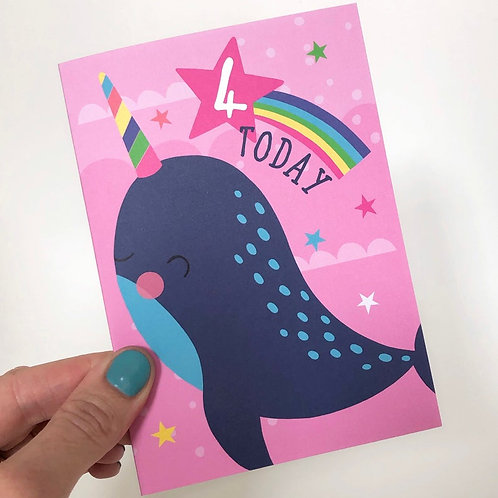 4 Today! Kids Narwhal Happy Birthday Card