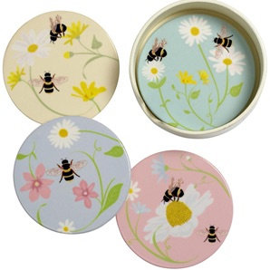Colourful Ceramic Bee Coaster Set