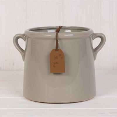 Grey Pot with Double Handles - 15cm