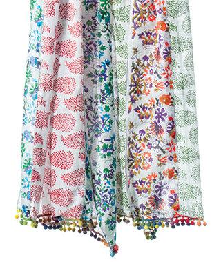 Leaf print cotton scarf with pom poms