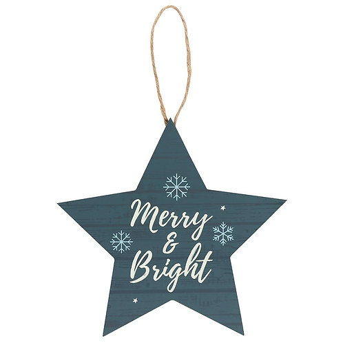 Large Merry & Bright hanging star decoration - 21cm