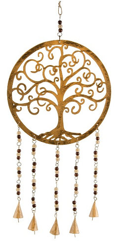 Brass hanging tree of life with wooden beads