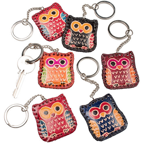 Leather keyring - owl design