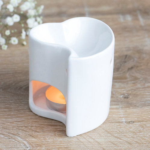 White Heart Ceramic Wax Melt / Oil burner
