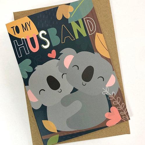 'To My Husband' Koala Card