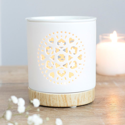 White Mandala Ceramic Oil Burner