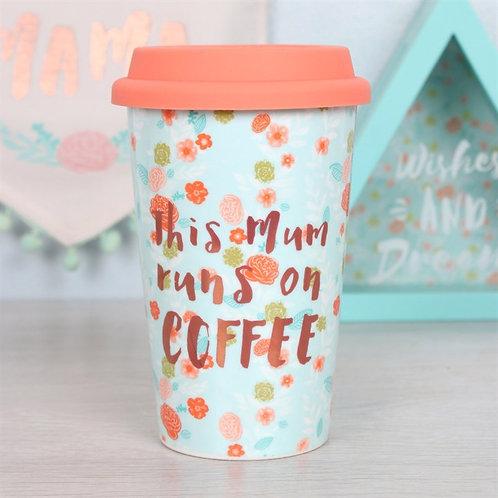 'This Mum Runs on Coffee'.. Thermal Travel Mug