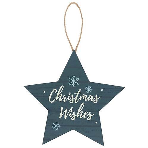 Large Christmas Wishes hanging star decoration - 21cm