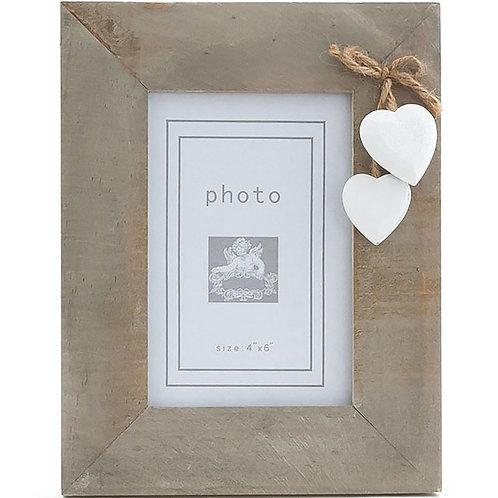 Rustic Wooden Photo Frame With White Hearts