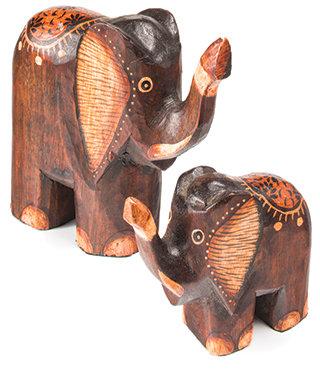Set of 2 hand carved wooden elephants