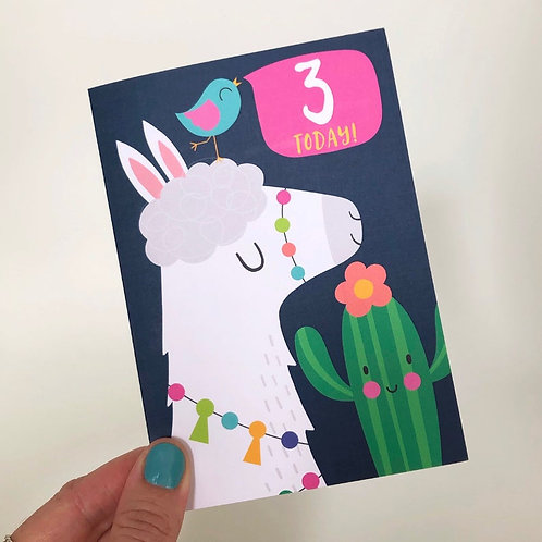 3 Today! Kids Alpaca Happy Birthday Card
