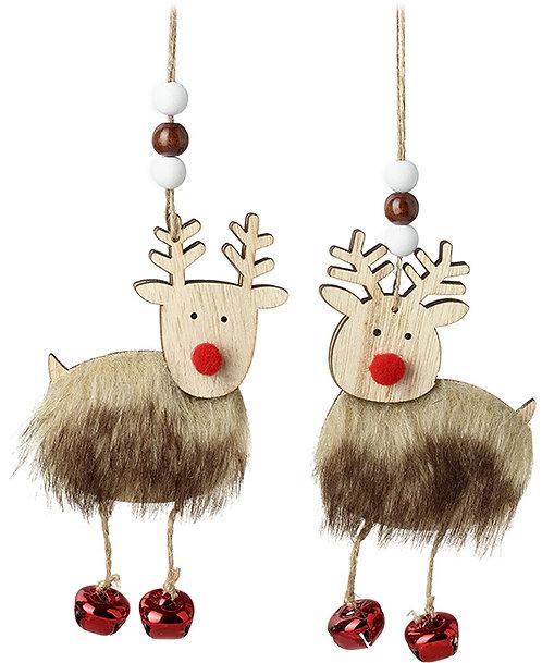 Faux Fur Wooden Reindeer