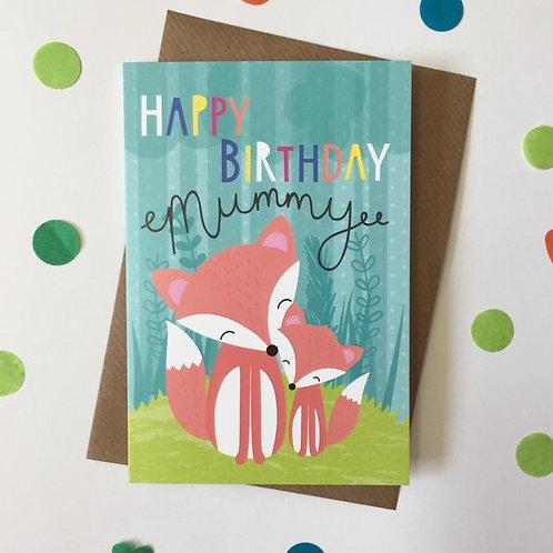 Mummy Birthday Card, Cute Fox