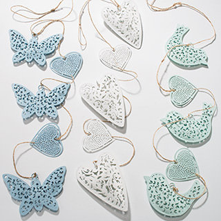 Hanging string of painted butterflies, hearts, birds
