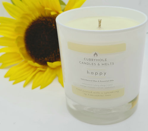 'HAPPY' Aromatherapy Soy Wax Candle - Wellbeing Collection 30cl