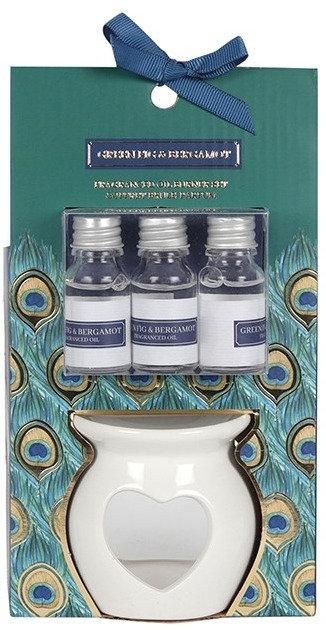 Peacock Theme Ceramic Heart Oil Burner Gift Set