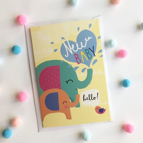 New Baby Card, Unisex Elephant Design