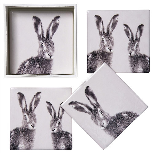 Hare Ceramic Coasters - Set of 4