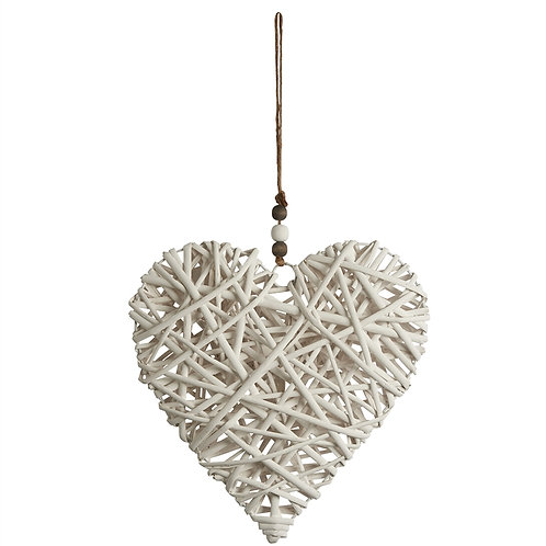 Large Hanging Wicker Heart With Wooden Beads - White