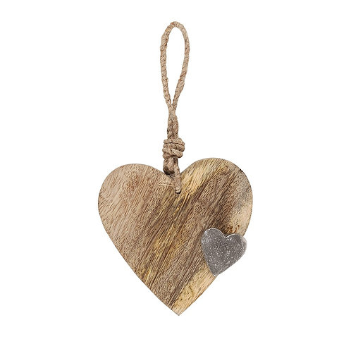 Rustic Mango Wood Hanging Heart 10cm