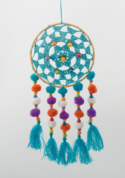 Bright Crochet & Pom Pom Dreamcatcher