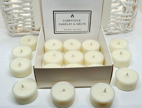 Soy Wax Tealights With Cotton Wicks ~ Box of 18