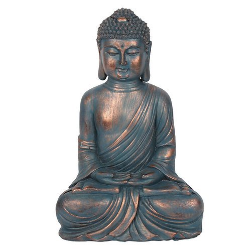 BLUE HANDS IN LAP SITTING BUDDHA (34cm)